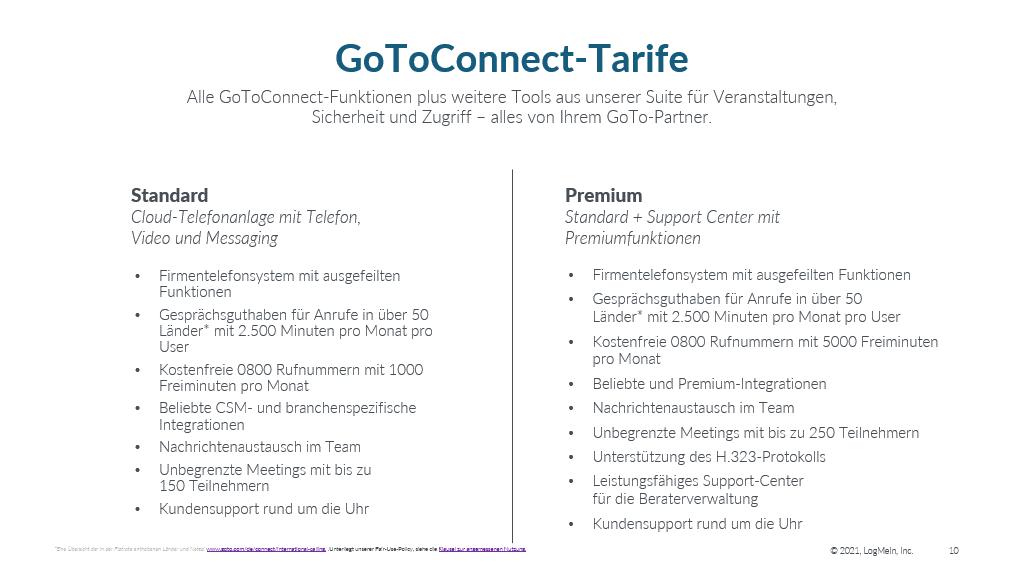 Die GoToConnect Tarife